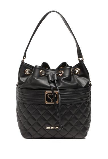 Genti Femei LOVE Moschino Drawstring Quilted Shoulder Bag BLACK