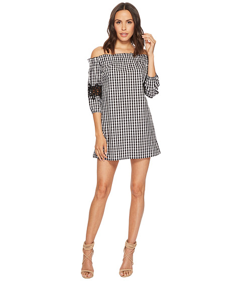 Imbracaminte Femei Romeo Juliet Couture Gingham Off the Shoulder Lace Dress BlackWhite