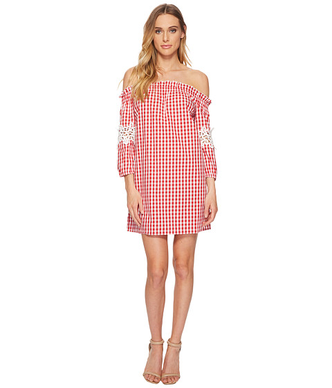 Imbracaminte Femei Romeo Juliet Couture Gingham Off the Shoulder Lace Dress RedWhite