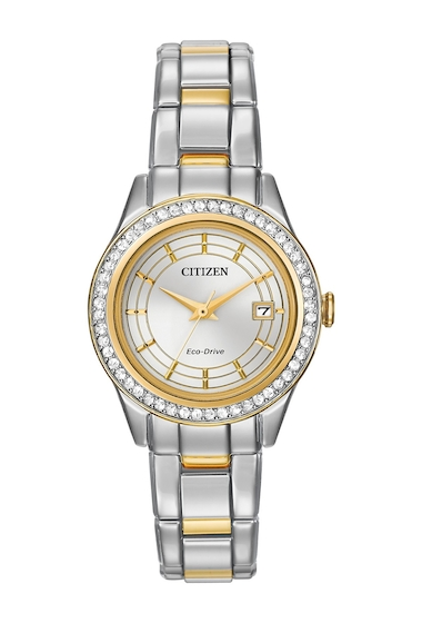 Ceasuri Femei Citizen Watches Womens Eco-Drive Silhouette Crystal Two-Tone Bracelet Watch 28mm NO COLOR