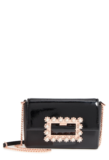 Genti Femei Ted Baker London Peonyy Embellished Buckle Leather Clutch BLACK