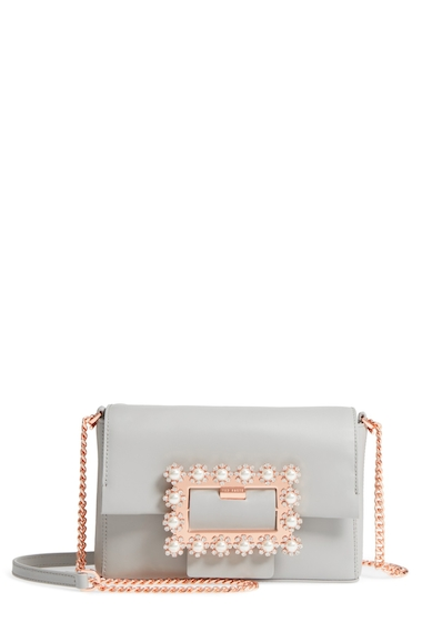 Genti Femei Ted Baker London Peonyy Embellished Buckle Leather Clutch LIGHT GREY