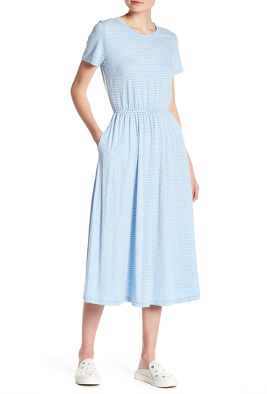 Imbracaminte Femei Lush Open Back Striped Tee Dress BLUE PEARL