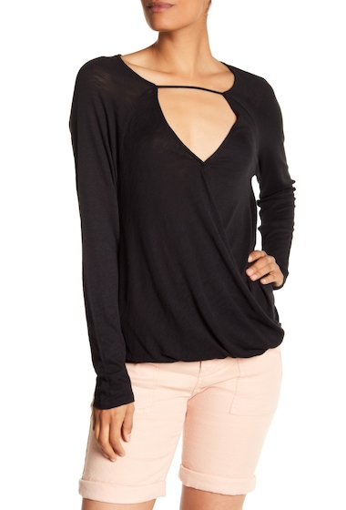 Imbracaminte Femei Splendid Knit Front Strap Surplice Blouse BLACK