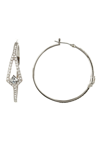 Bijuterii Femei Vince Camuto Pave Crystal Hoop Earrings YELLOW 01