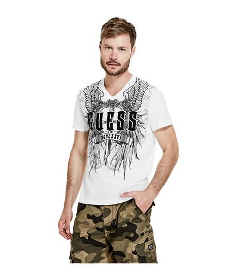 Imbracaminte Barbati GUESS Ernie Logo V-Neck Tee true white