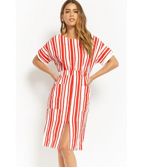 Imbracaminte Femei Forever21 Woven Striped Dress RED