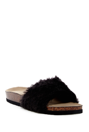 Incaltaminte Femei Madden Girl Blisss Faux Fur Slide Sandal BLACK