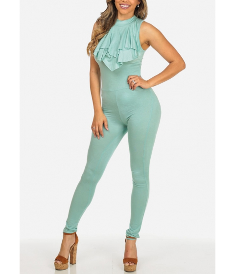 Imbracaminte Femei CheapChic Sleeveless Mint Color High Ruffled Neckline Slim Fit Stretchy Jumpsuit Multicolor