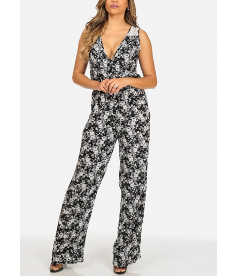 Imbracaminte Femei CheapChic Black Printed Lightweight Sleeveless Elastic Waist V-Neck Jumpsuit Multicolor