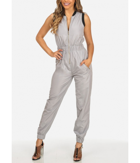 Imbracaminte Femei CheapChic Grey Sleeveless 2-Pocket Gold Zipper Elastic Waist Stylish Jumpsuit Multicolor