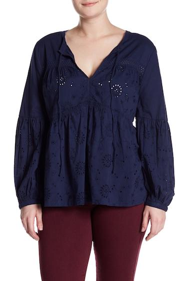 Imbracaminte Femei SUSINA Long Sleeve Schiffli Popover Blouse Plus Size NAVY PEACOAT