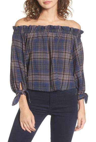 Imbracaminte Femei Lush Plaid Off the Shoulder Top BLUE PRINT