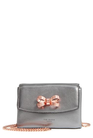 Genti Femei Ted Baker London Lupiin Metallic Leather Crossbody Bag GUNMETAL