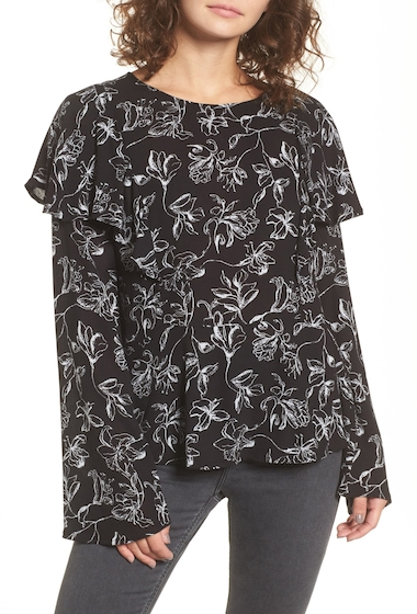 Imbracaminte Femei BP Floral Print Ruffle Blouse BLACK LILY SKTH