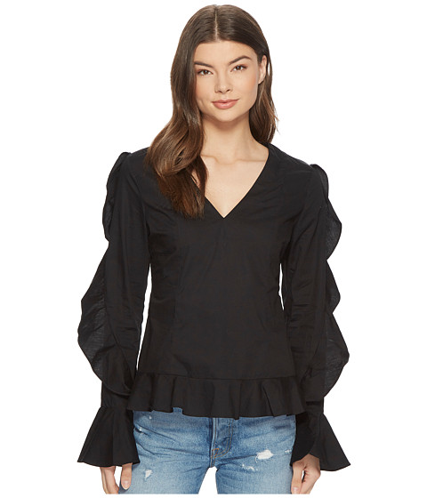 Imbracaminte Femei Romeo Juliet Couture Ruffle Sleeve Blouse w V-Neckline Black