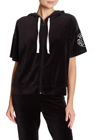 Imbracaminte Femei Juicy Couture Short Sleeve Velour Zip Hoodie BLACK