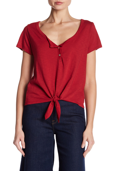 Imbracaminte Femei Abound Scoop Neck Henley Tie Tee RED CHILI