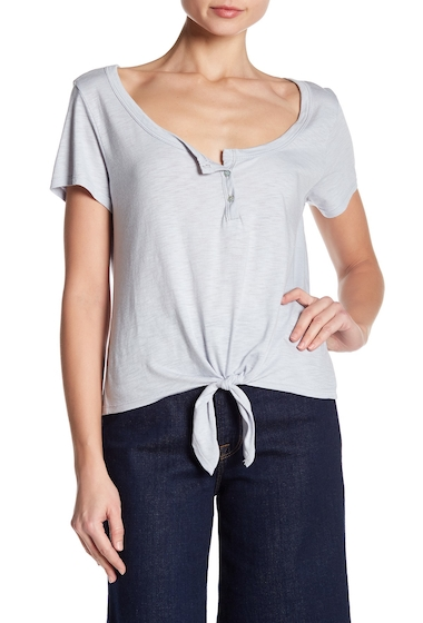 Imbracaminte Femei Abound Scoop Neck Henley Tie Tee GREY MED HTR