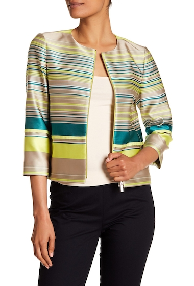 Imbracaminte Femei Lafayette 148 New York Tilda Silk Stripe Jacket PARROT GREEN MULTI