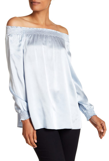 Imbracaminte Femei Lafayette 148 New York Raelyn Silk Off-the-Shoulder Shirred Blouse SEAWATER