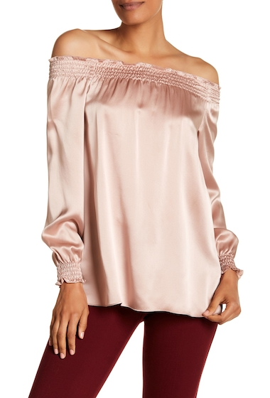 Imbracaminte Femei Lafayette 148 New York Raelyn Silk Off-the-Shoulder Shirred Blouse FEMME PINK