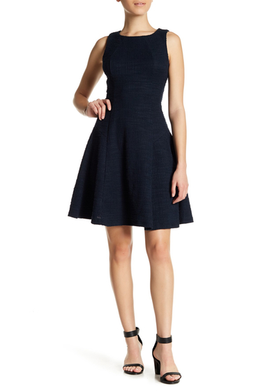 Imbracaminte Femei Sharagano Textured Fit Flare Dress Petite DEEP NAVY