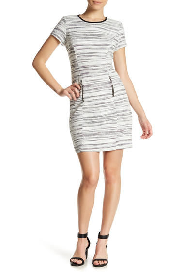 Imbracaminte Femei Sharagano Short Sleeve Textured Dress Petite BLKIVY