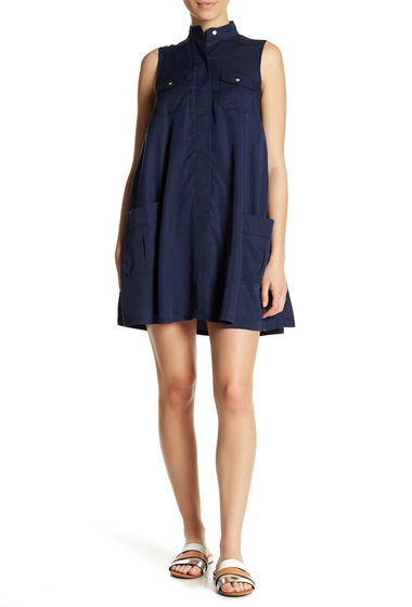 Imbracaminte Femei Sharagano Sleeveless Flared Pocket Dress Petite NAVY