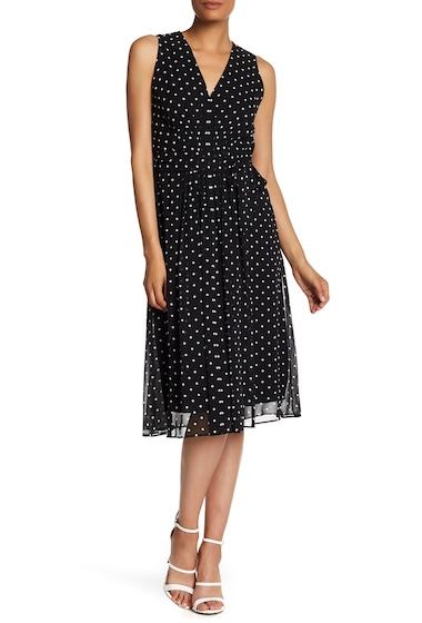Imbracaminte Femei AK Anne Klein V-Neck Polkadot Print Midi Dress BLK-PARCHMENT