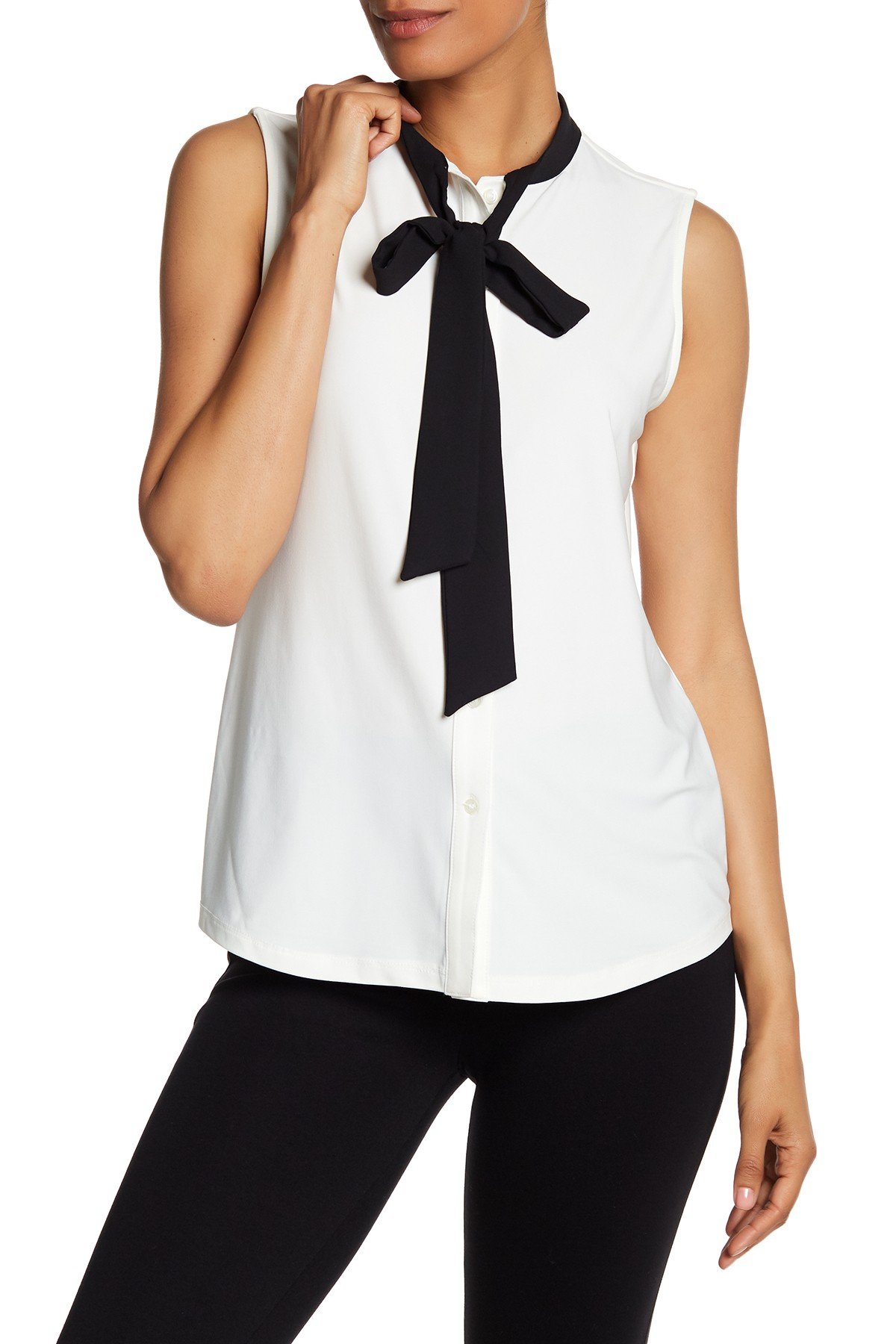 Imbracaminte Femei AK Anne Klein Sleeveless Bow Blouse WHITE