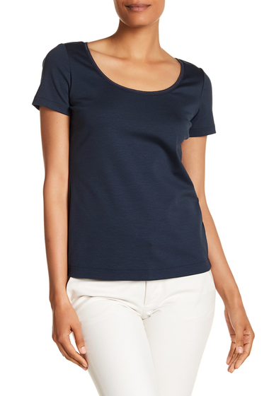 Imbracaminte Femei Lafayette 148 New York Chain Detailed Scoop Neck Tee BATEAU BLUE