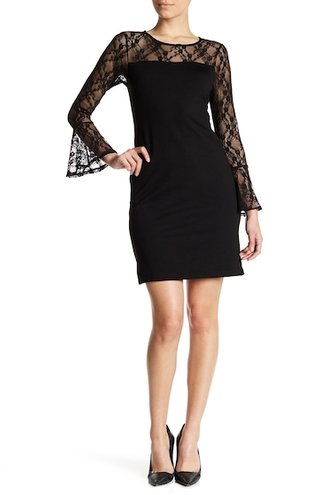 Imbracaminte Femei Bobeau Lace Detail Bell Sleeve Dress Petite BLACK