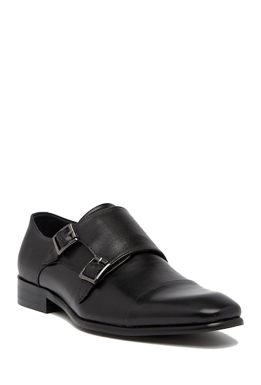 Incaltaminte Barbati Steve Madden Guesto Leather Double Monk Oxford BLACK LEAT