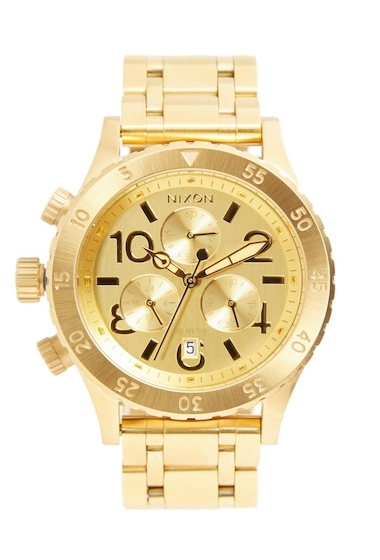 Ceasuri Femei Nixon Womens The 38-20 Chronograph Bracelet Watch 38mm GOLD