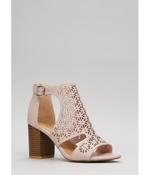 Incaltaminte Femei CheapChic Crochet Everything Chunky Latticed Heels Blush