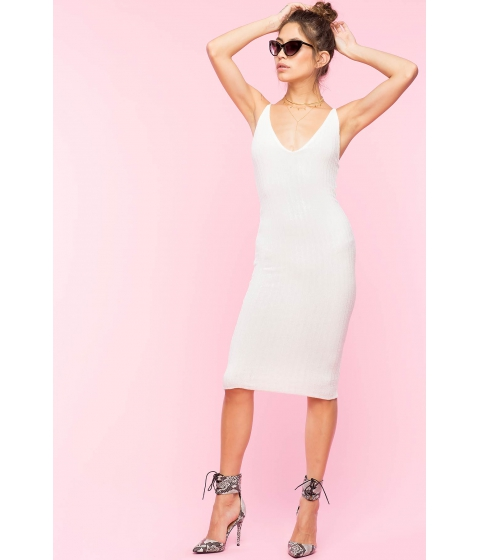 Imbracaminte Femei CheapChic V Neck Knit Bodycon Dress White