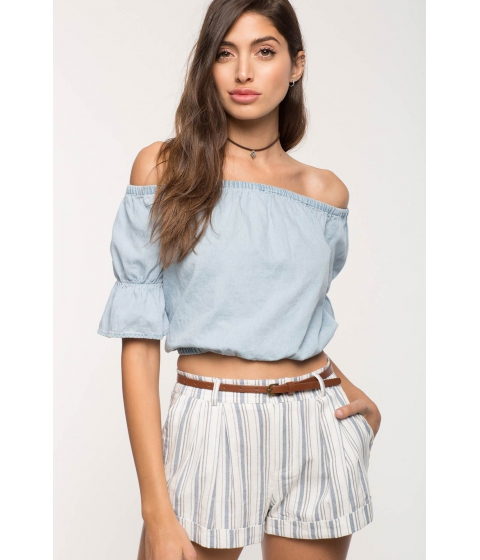 Imbracaminte Femei CheapChic Chambray Off Shoulder Top Light Wash Denim