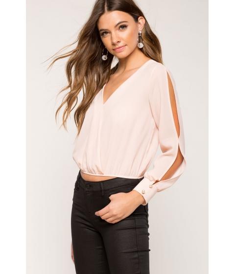 Imbracaminte Femei CheapChic Pearl Slit Sleeve Surplice Blouse Blush
