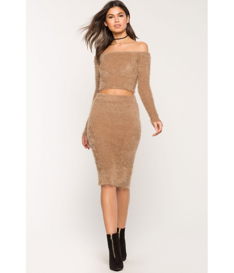 Imbracaminte Femei CheapChic Two Piece Mohair Skirt Set Mocha