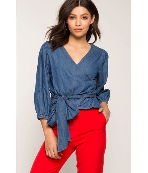 Imbracaminte Femei CheapChic Chambray Wrap Surplice Dark Wash Denim