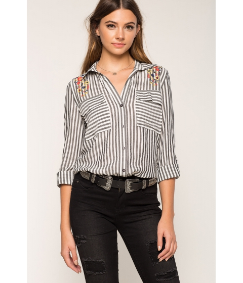 Imbracaminte Femei CheapChic Embroidered Stripe Shirt Black Pattern