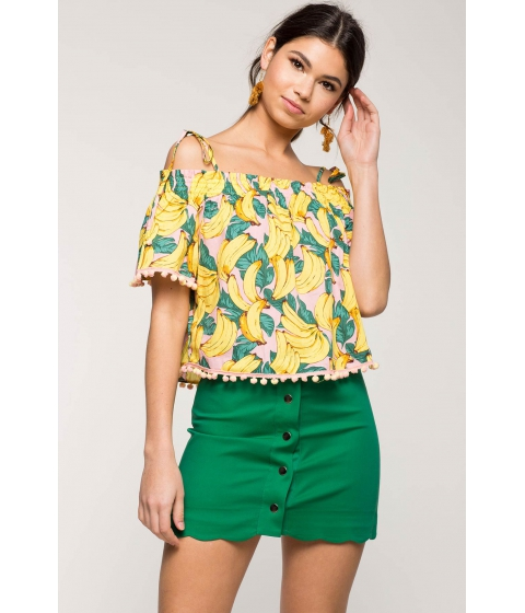 Imbracaminte Femei CheapChic Tropical Cold Shoulder Top FuchsiaPink Print
