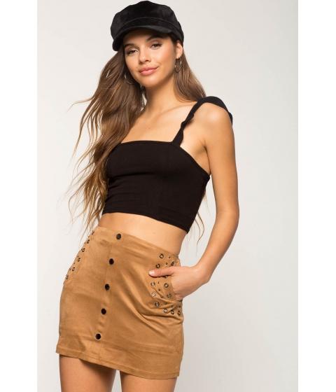 Imbracaminte Femei CheapChic Mini Metal Suede Skirt Mocha