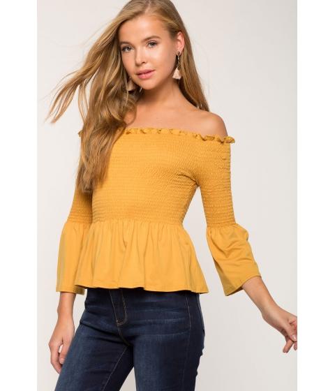 Imbracaminte Femei CheapChic Jess Smocked Peplum Off Shoulder Mustard