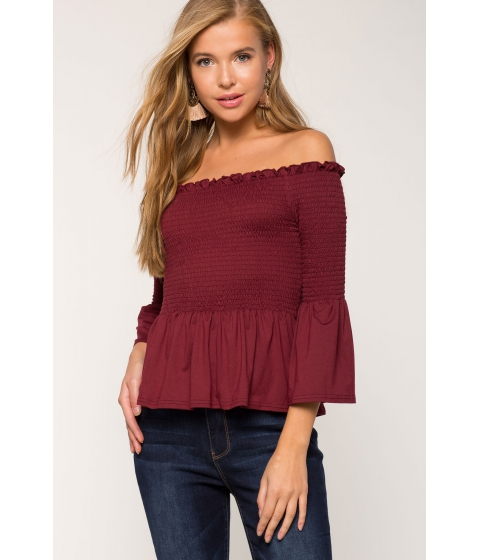 Imbracaminte Femei CheapChic Jess Smocked Peplum Off Shoulder WineBurgundy