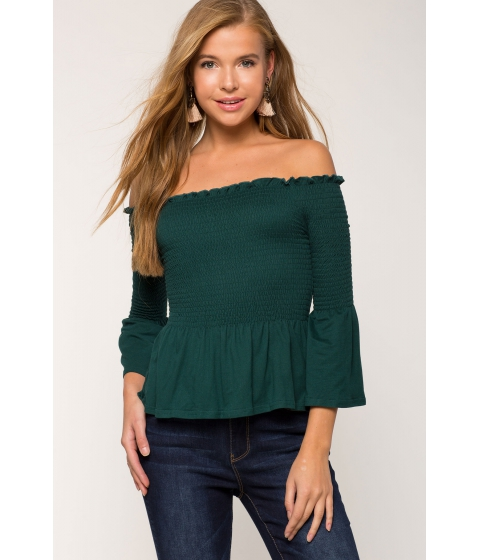 Imbracaminte Femei CheapChic Jess Smocked Peplum Off Shoulder Hunter
