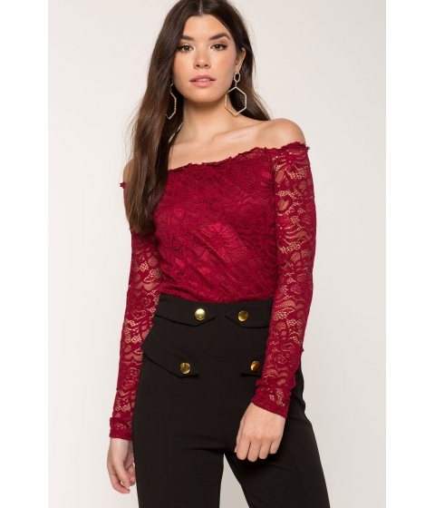 Imbracaminte Femei CheapChic Lace Off Shoulder WineBurgundy