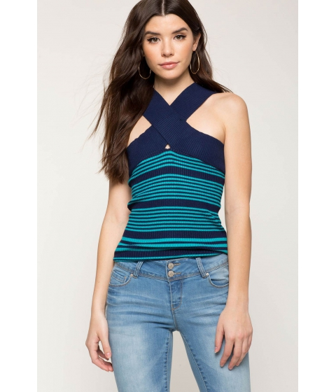 Imbracaminte Femei CheapChic Halter Contrast Ribbed Tee Blue Pattern