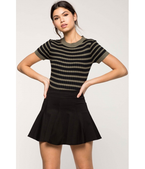 Imbracaminte Femei CheapChic Striped Contrast Ribbed Tee Green Pattern